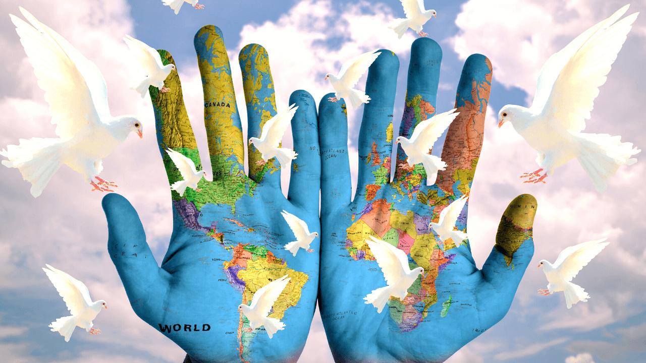 世界 地球 手 平和