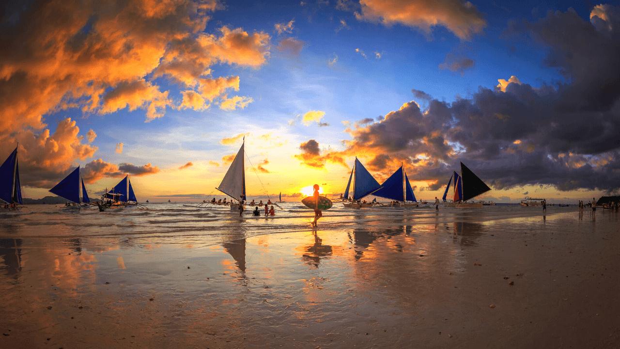 フィリピン ボラカイ 夕日 サーフィン